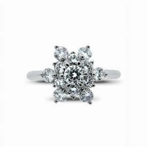 Brilliant Cut Diamond Snowflake Cluster Ring - 0.75ct